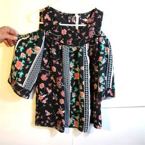 NY Collection Cold Shoulder Floral Print Blouse PS